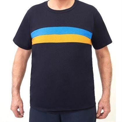t-shirt uomo mezza manica MAGLIA UOMO EXTRALARGE FASCE BICOLORI SUL DAVANTI TESSUTO IN MAGLINA DI COTONE